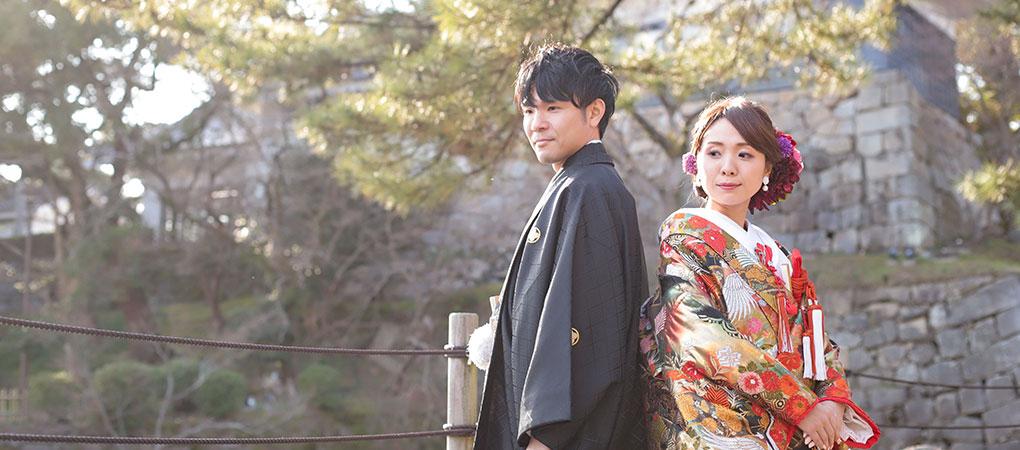 岡崎公園と新郎新婦の写真